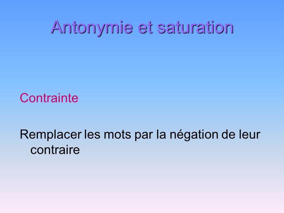 Antonymie et saturation Contrainte Remplacer les mots par la négation de leur contraire