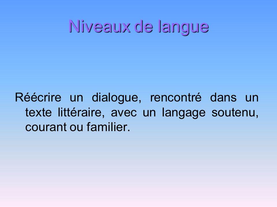 Niveaux de langue Réécrire un dialogue, rencontré dans un texte littéraire, avec un langage soutenu, courant ou familier.