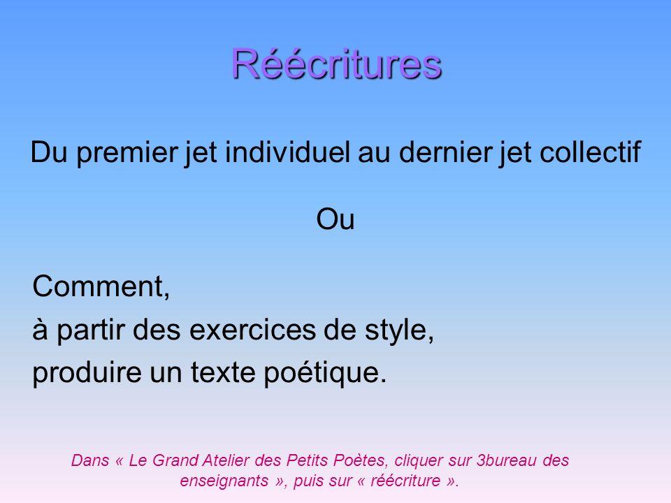 Réécritures Du premier jet individuel au dernier jet collectif Ou Comment, à partir des exercices de style, produire un texte poétique. Dans « Le Gran