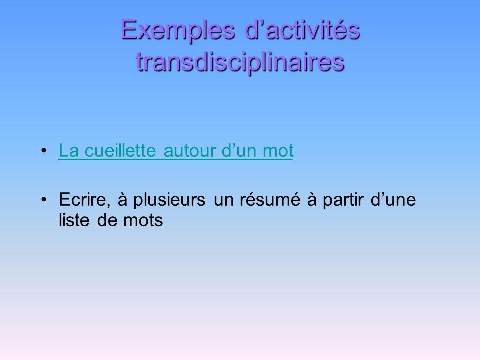 Exemples dactivités transdisciplinaires La cueillette autour dun mot Ecrire, à plusieurs un résumé à partir dune liste de mots