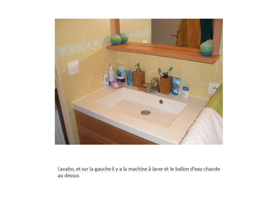 Lavabo, et sur la gauche il y a la machine à laver et le ballon deau chaude au dessus