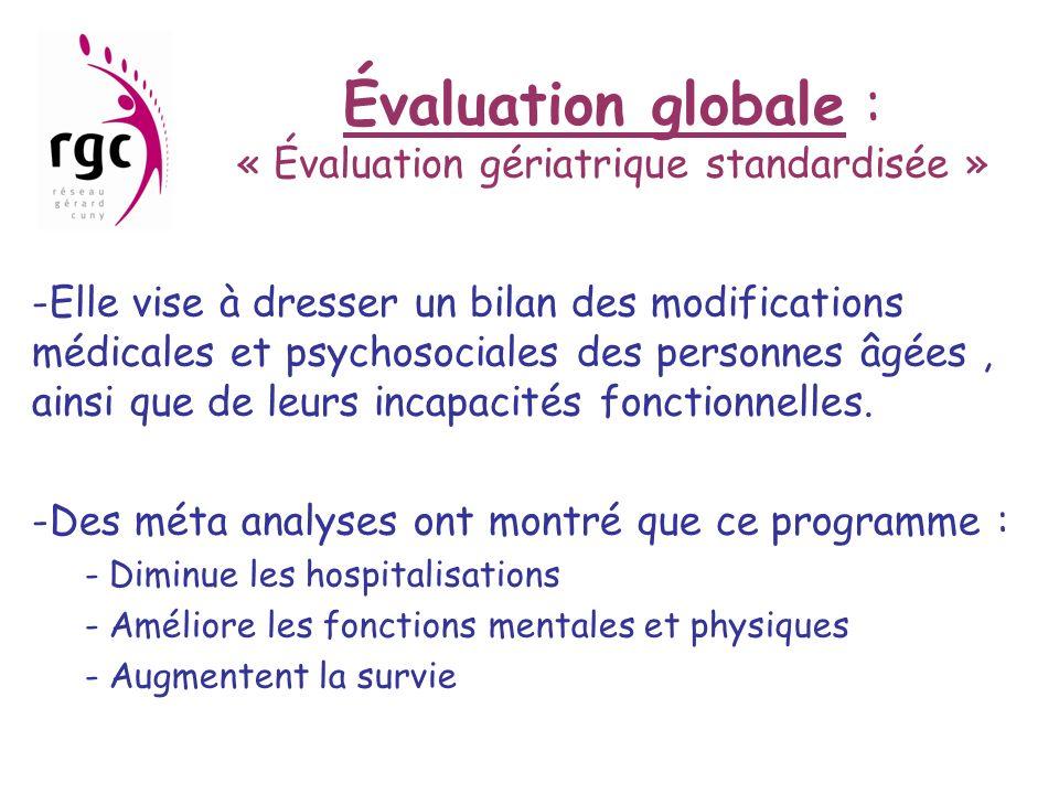 Évaluation globale : « Évaluation gériatrique standardisée » -Elle vise à dresser un bilan des modifications médicales et psychosociales des personnes