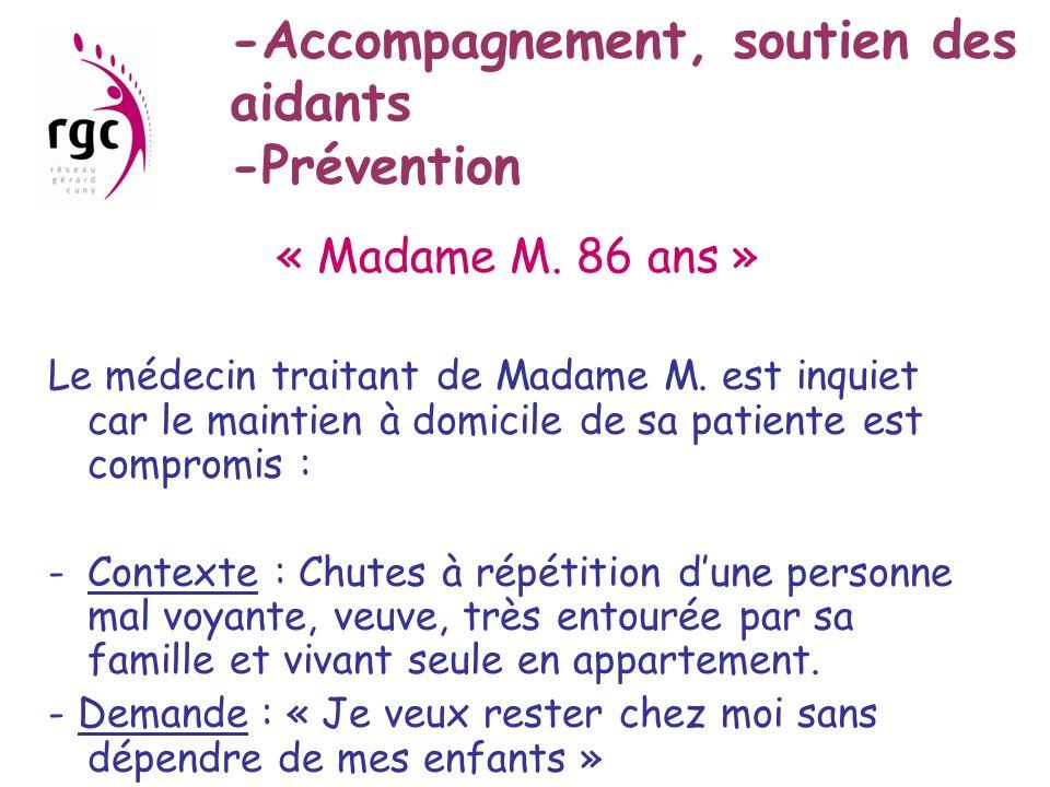 -Accompagnement, soutien des aidants -Prévention « Madame M. 86 ans » Le médecin traitant de Madame M. est inquiet car le maintien à domicile de sa pa