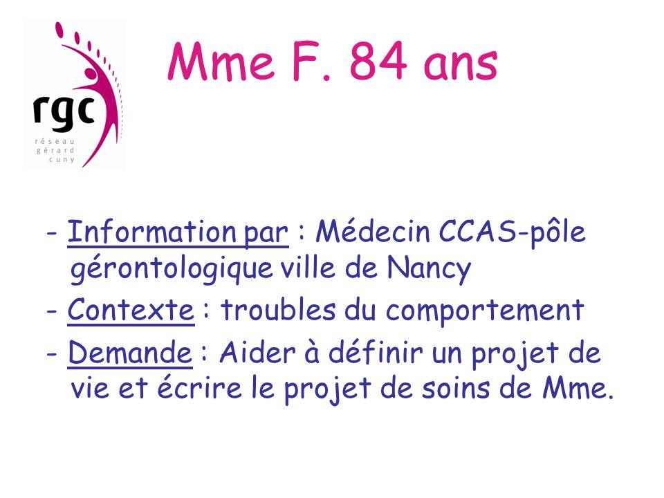 Mme F. 84 ans - Information par : Médecin CCAS-pôle gérontologique ville de Nancy - Contexte : troubles du comportement - Demande : Aider à définir un