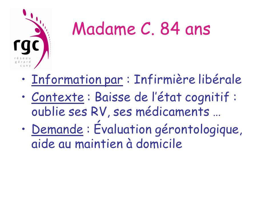 Madame C. 84 ans Information par : Infirmière libérale Contexte : Baisse de létat cognitif : oublie ses RV, ses médicaments … Demande : Évaluation gér