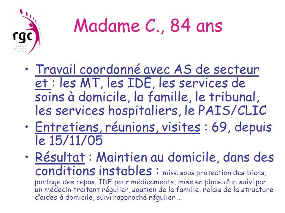 Madame C., 84 ans Travail coordonné avec AS de secteur et : les MT, les IDE, les services de soins à domicile, la famille, le tribunal, les services h
