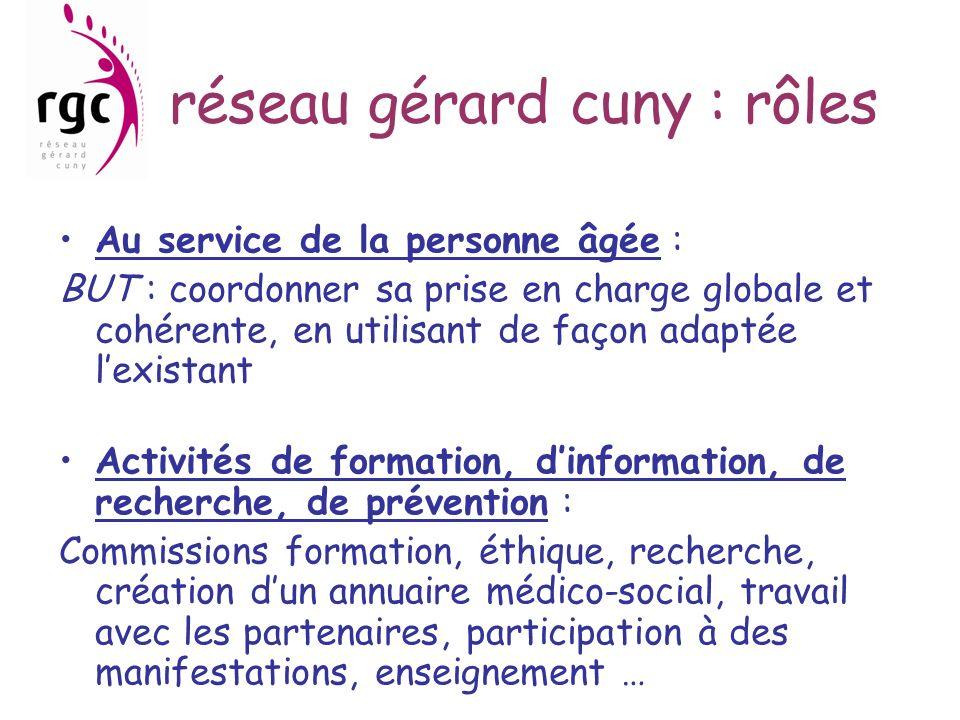 réseau gérard cuny : rôles Au service de la personne âgée : BUT : coordonner sa prise en charge globale et cohérente, en utilisant de façon adaptée le