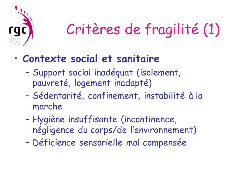 Critères de fragilité (1) Contexte social et sanitaire –Support social inadéquat (isolement, pauvreté, logement inadapté) –Sédentarité, confinement, i