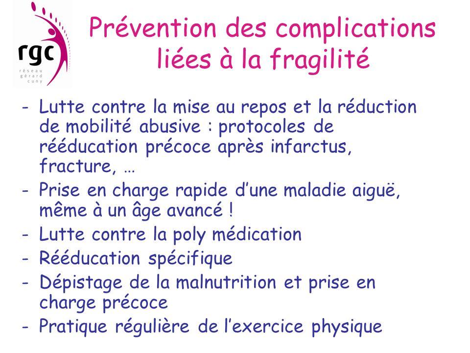 Prévention des complications liées à la fragilité -Lutte contre la mise au repos et la réduction de mobilité abusive : protocoles de rééducation préco