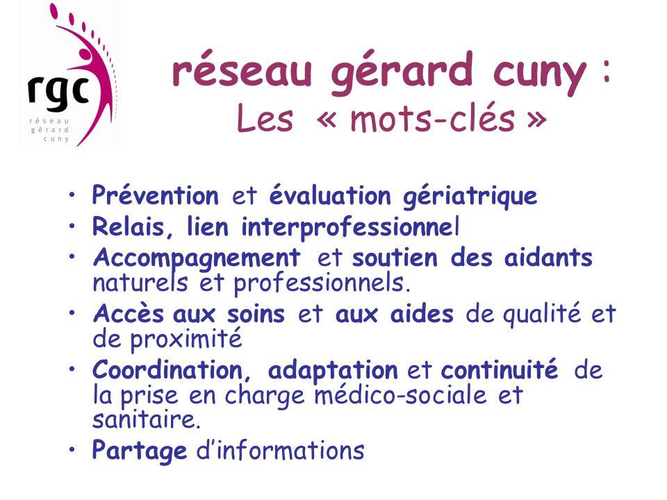 réseau gérard cuny : Les « mots-clés » Prévention et évaluation gériatrique Relais, lien interprofessionnel Accompagnement et soutien des aidants natu