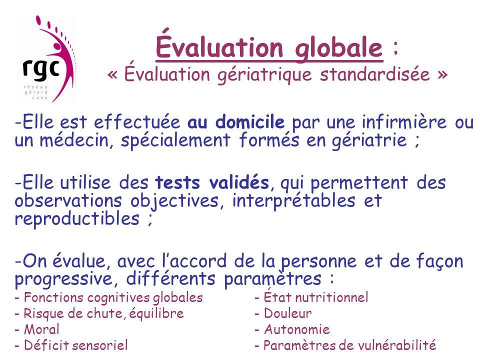 Évaluation globale : « Évaluation gériatrique standardisée » -Elle est effectuée au domicile par une infirmière ou un médecin, spécialement formés en