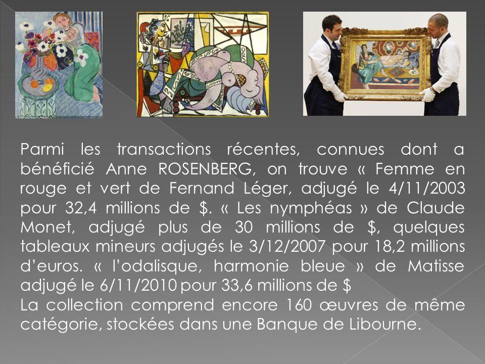 Parmi les transactions récentes, connues dont a bénéficié Anne ROSENBERG, on trouve « Femme en rouge et vert de Fernand Léger, adjugé le 4/11/2003 pou