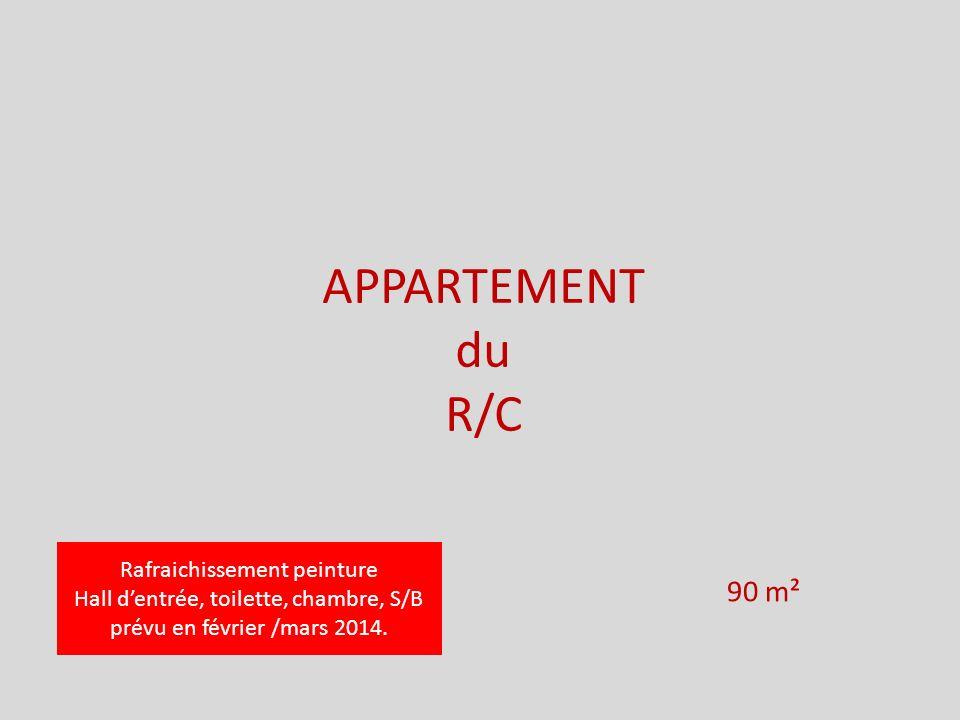 APPARTEMENT du R/C 90 m² Rafraichissement peinture Hall dentrée, toilette, chambre, S/B prévu en février /mars 2014.