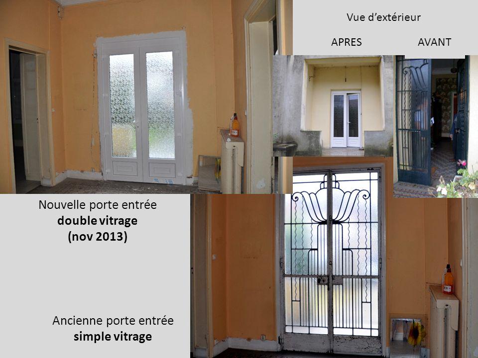 Nouvelle porte entrée double vitrage (nov 2013) Ancienne porte entrée simple vitrage AVANT Vue dextérieur APRES