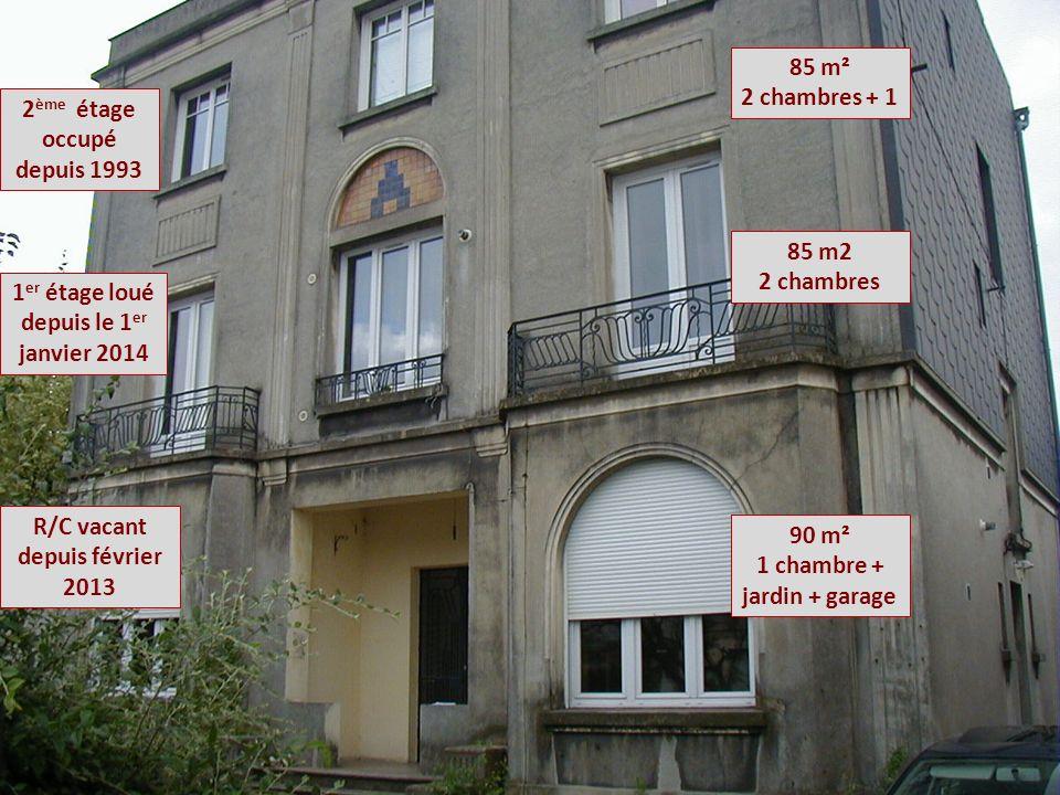 2 ème étage occupé depuis 1993 1 er étage loué depuis le 1 er janvier 2014 R/C vacant depuis février 2013 90 m² 1 chambre + jardin + garage 85 m2 2 chambres 85 m² 2 chambres + 1