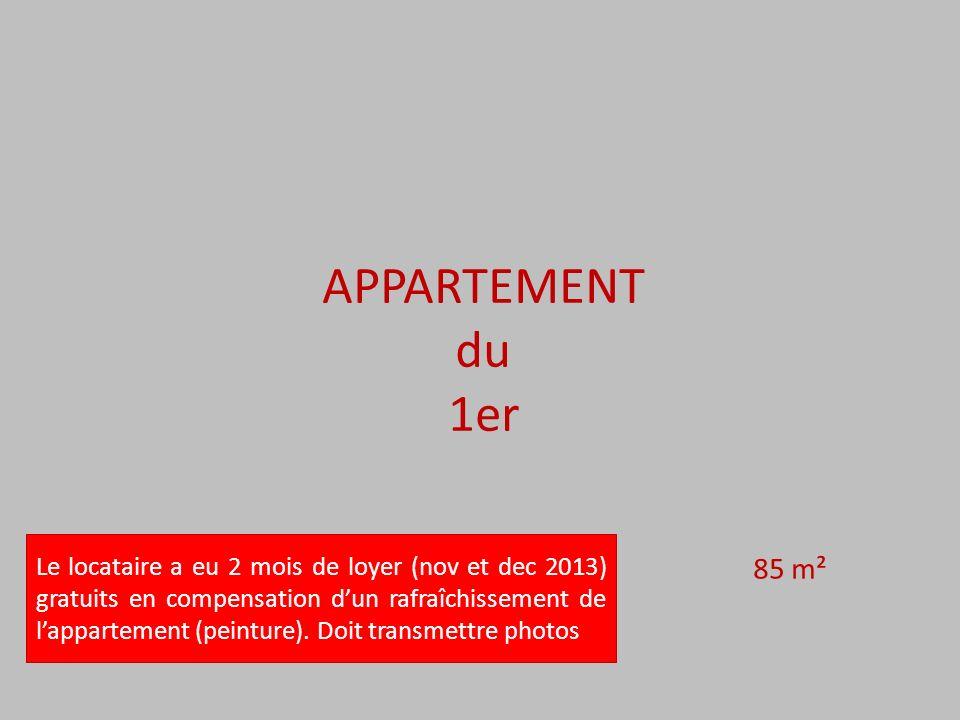APPARTEMENT du 1er 85 m² Le locataire a eu 2 mois de loyer (nov et dec 2013) gratuits en compensation dun rafraîchissement de lappartement (peinture).