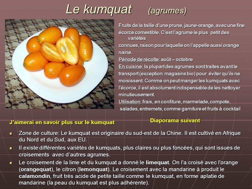 Le kumquat (agrumes) Fruits de la taille dune prune, jaune-orange, avec une fine écorce comestible. Cest Iagrume le plus petit des variétés connues, r