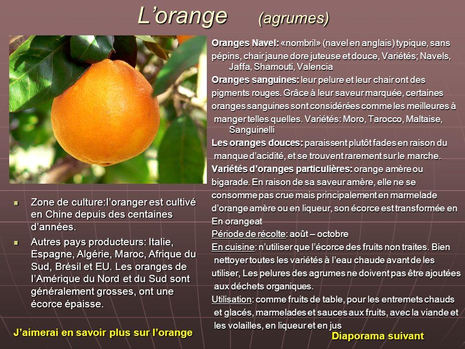 Lorange (agrumes) Oranges Navel: «nombril» (navel en anglais) typique, sans pépins, chair jaune dore juteuse et douce, Variétés; Navels, Jaffa, Shamou