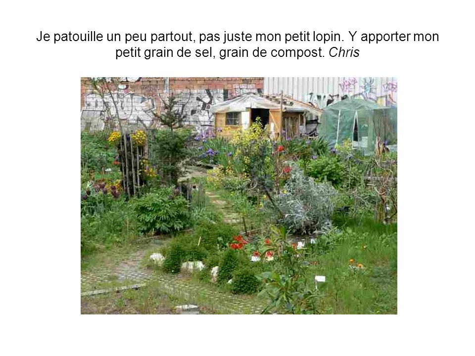 Je dis avec fierté à mes amis bordelais que jai un jardin à Paris et que je jardine. Anne