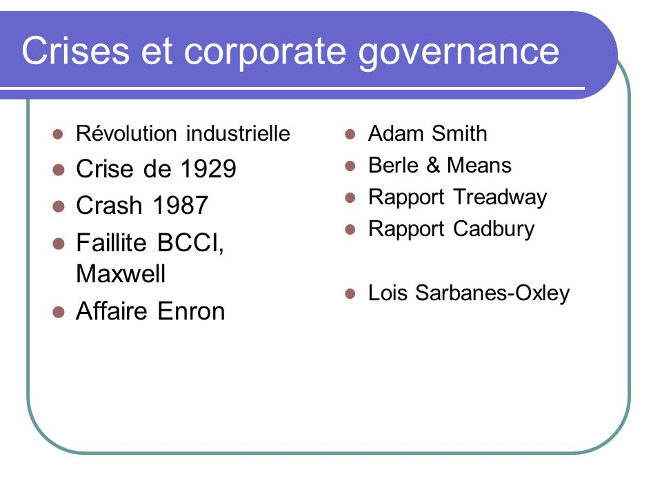 Crises et corporate governance Révolution industrielle Crise de 1929 Crash 1987 Faillite BCCI, Maxwell Affaire Enron Adam Smith Berle & Means Rapport