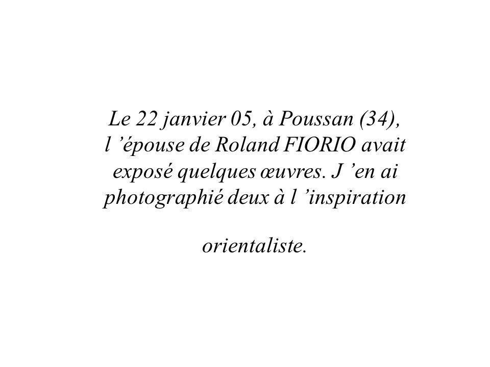 Le 22 janvier 05, à Poussan (34), l épouse de Roland FIORIO avait exposé quelques œuvres. J en ai photographié deux à l inspiration orientaliste.