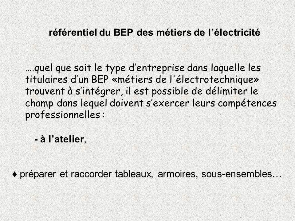 référentiel du BEP des métiers de lélectricité ….quel que soit le type dentreprise dans laquelle les titulaires dun BEP «métiers de l'électrotechnique