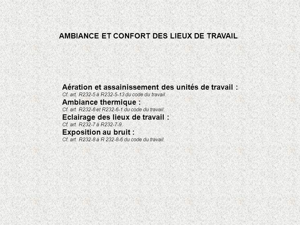AMBIANCE ET CONFORT DES LIEUX DE TRAVAIL Aération et assainissement des unités de travail : Cf. art. R232-5 à R232-5-13 du code du travail. Ambiance t