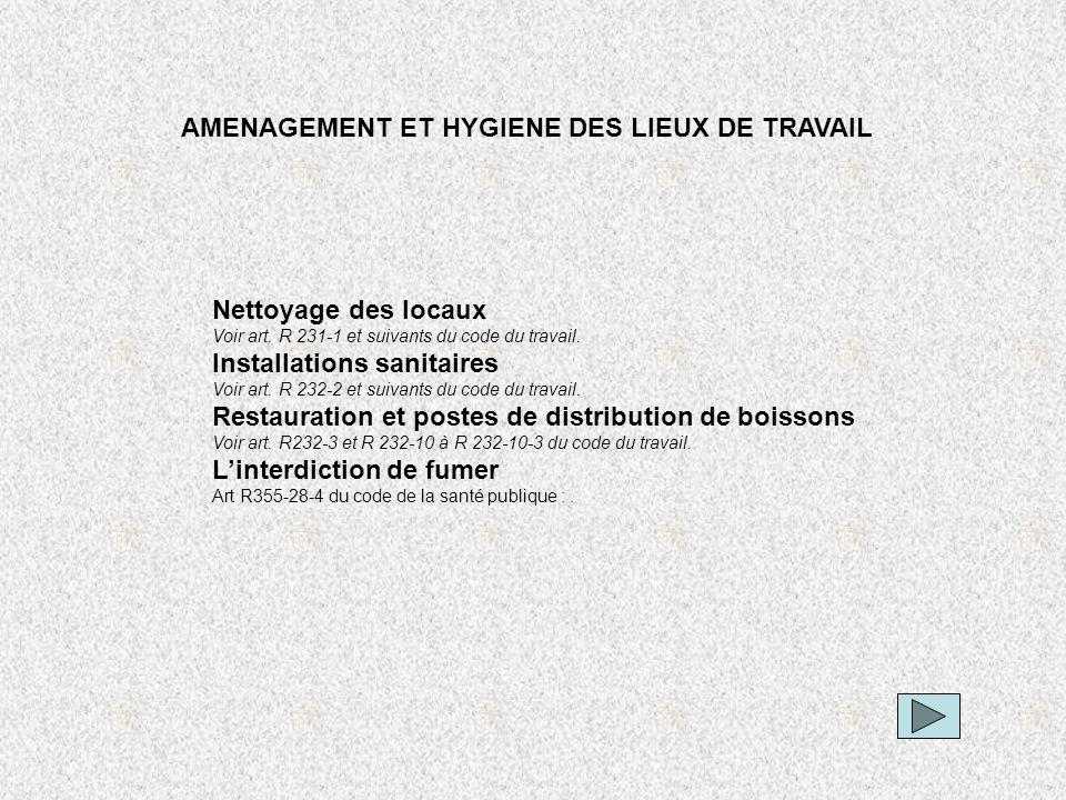 AMENAGEMENT ET HYGIENE DES LIEUX DE TRAVAIL Nettoyage des locaux Voir art. R 231-1 et suivants du code du travail. Installations sanitaires Voir art.