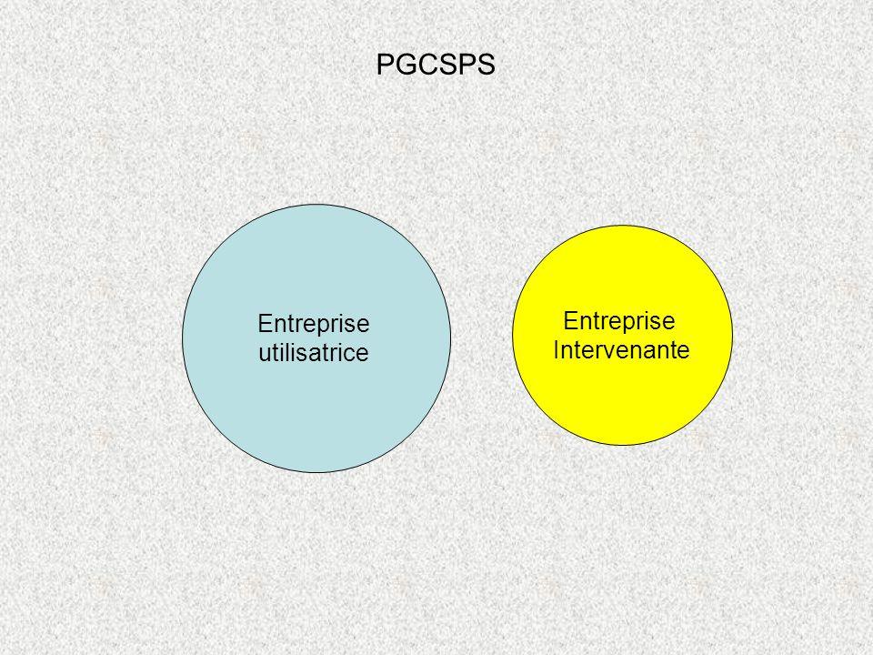 Entreprise utilisatrice Entreprise Intervenante PGCSPS