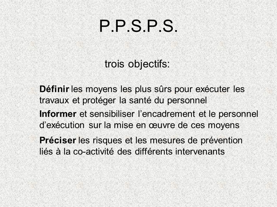 P.P.S.P.S. trois objectifs: Informer et sensibiliser lencadrement et le personnel dexécution sur la mise en œuvre de ces moyens Définir les moyens les