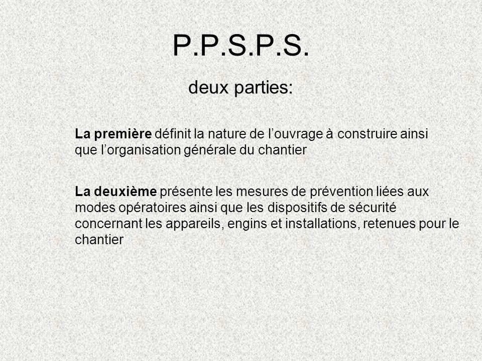 P.P.S.P.S. deux parties: La première définit la nature de louvrage à construire ainsi que lorganisation générale du chantier La deuxième présente les