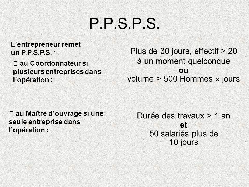 P.P.S.P.S. Lentrepreneur remet un P.P.S.P.S. : au Coordonnateur si plusieurs entreprises dans lopération : Plus de 30 jours, effectif > 20 à un moment