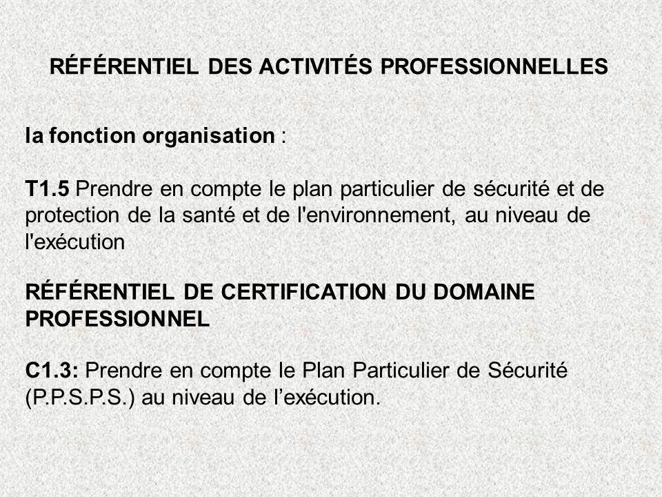 RÉFÉRENTIEL DES ACTIVITÉS PROFESSIONNELLES la fonction organisation : T1.5 Prendre en compte le plan particulier de sécurité et de protection de la sa