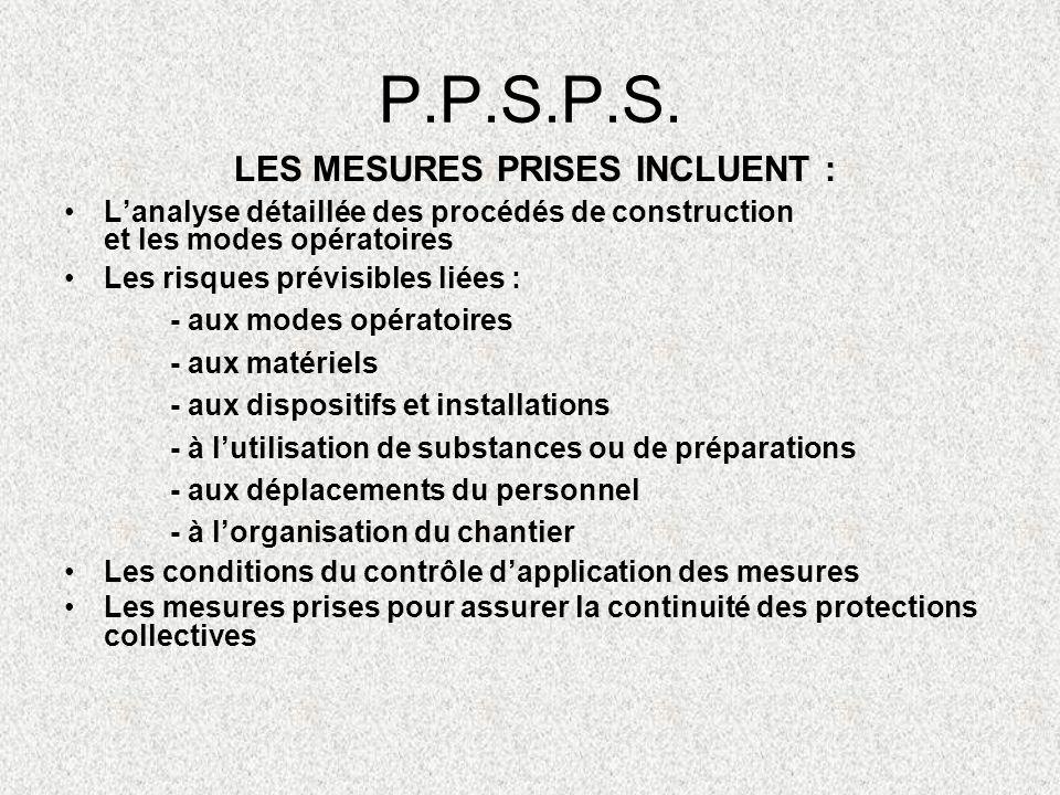 P.P.S.P.S. Lanalyse détaillée des procédés de construction et les modes opératoires Les risques prévisibles liées : - aux modes opératoires - aux maté