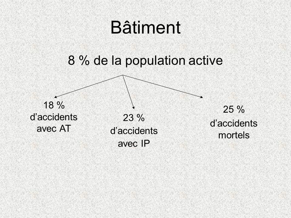Bâtiment 8 % de la population active 23 % daccidents avec IP 25 % daccidents mortels 18 % daccidents avec AT