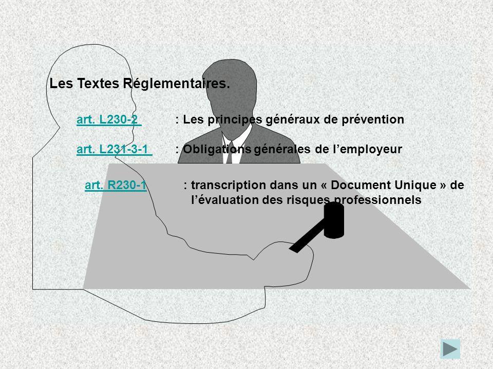 Les Textes Réglementaires. art. L230-2 art. L230-2 : Les principes généraux de prévention art. L231-3-1 art. L231-3-1 : Obligations générales de lempl
