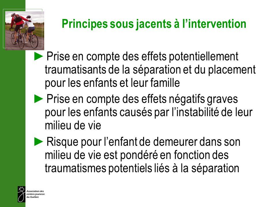 Principes sous jacents à lintervention Prise en compte des effets potentiellement traumatisants de la séparation et du placement pour les enfants et l