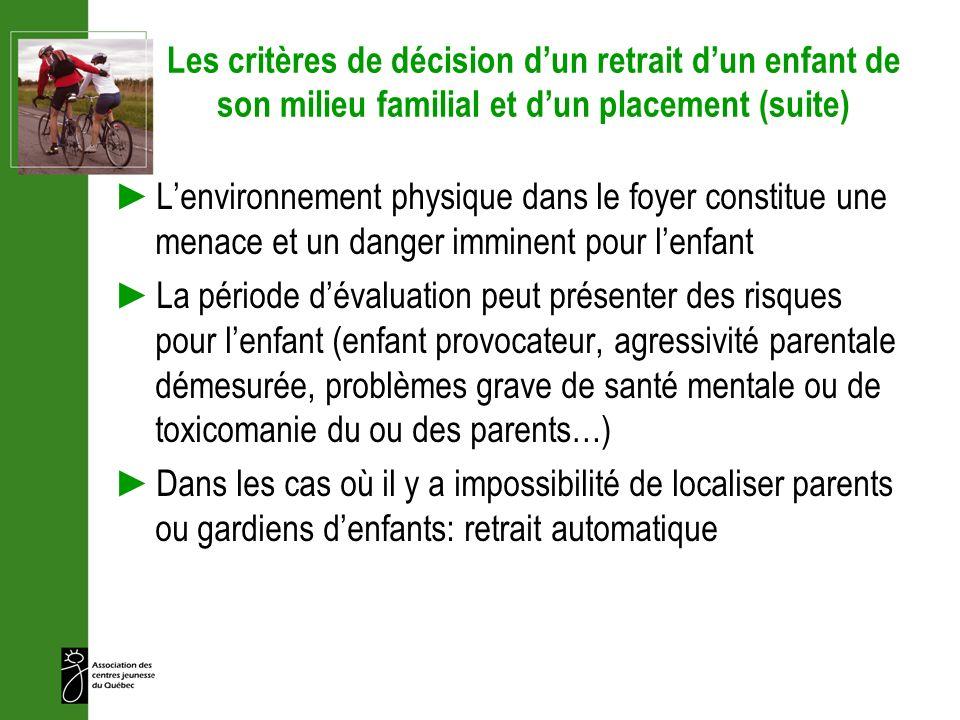 Les critères de décision dun retrait dun enfant de son milieu familial et dun placement (suite) Lenvironnement physique dans le foyer constitue une me
