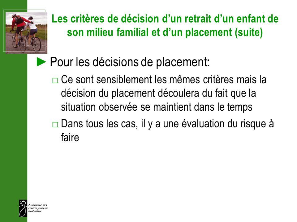 Les critères de décision dun retrait dun enfant de son milieu familial et dun placement (suite) Pour les décisions de placement: Ce sont sensiblement