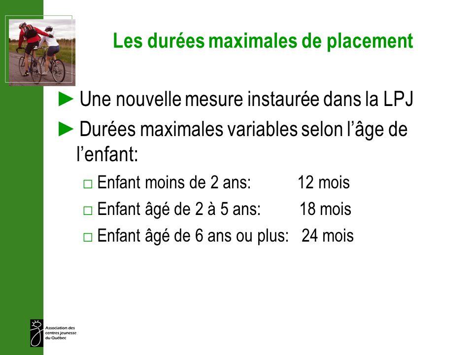 Les durées maximales de placement Une nouvelle mesure instaurée dans la LPJ Durées maximales variables selon lâge de lenfant: Enfant moins de 2 ans: 1