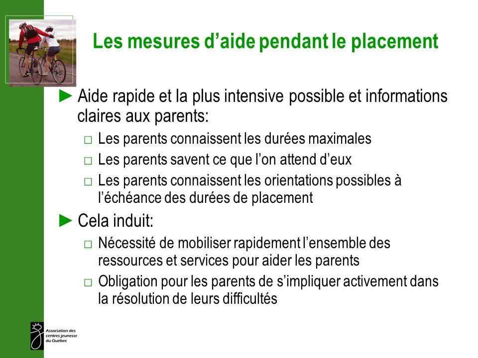 Les mesures daide pendant le placement Aide rapide et la plus intensive possible et informations claires aux parents: Les parents connaissent les duré