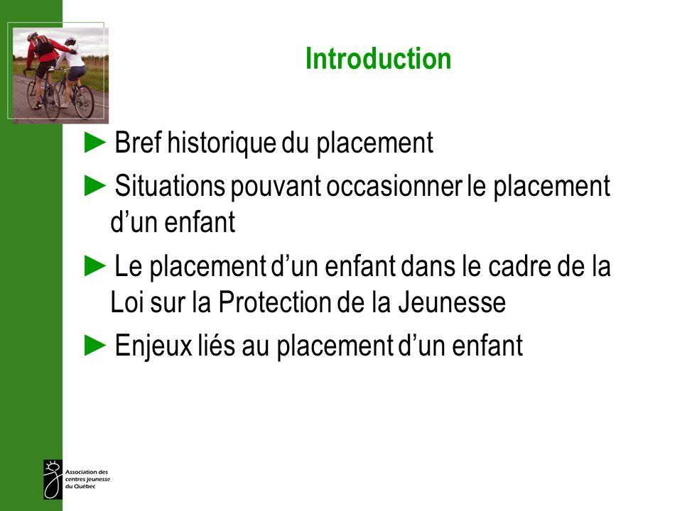 Introduction Bref historique du placement Situations pouvant occasionner le placement dun enfant Le placement dun enfant dans le cadre de la Loi sur l