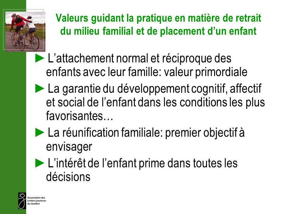 Valeurs guidant la pratique en matière de retrait du milieu familial et de placement dun enfant Lattachement normal et réciproque des enfants avec leu