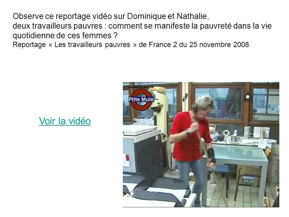 Observe ce reportage vidéo sur Dominique et Nathalie, deux travailleurs pauvres : comment se manifeste la pauvreté dans la vie quotidienne de ces femm