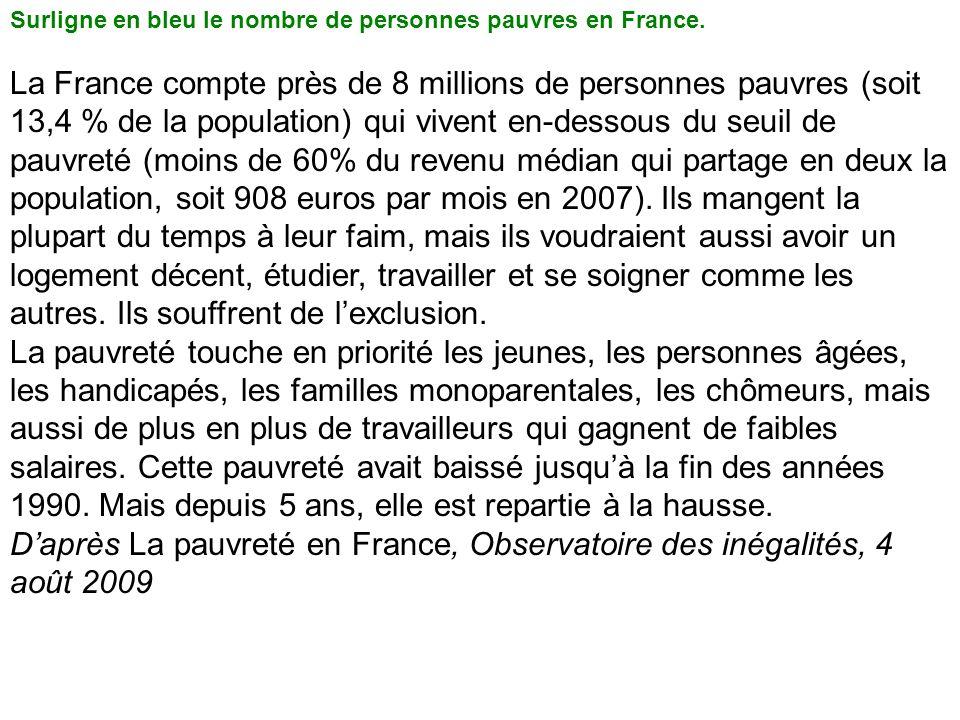 Surligne en bleu le nombre de personnes pauvres en France. La France compte près de 8 millions de personnes pauvres (soit 13,4 % de la population) qui