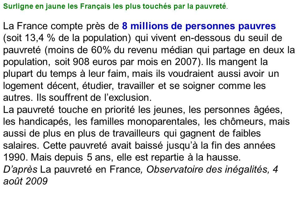 Surligne en jaune les Français les plus touchés par la pauvreté. La France compte près de 8 millions de personnes pauvres (soit 13,4 % de la populatio