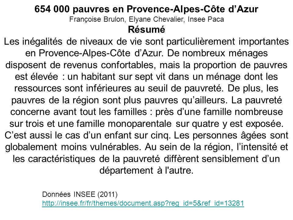 654 000 pauvres en Provence-Alpes-Côte dAzur Françoise Brulon, Elyane Chevalier, Insee Paca Résumé Les inégalités de niveaux de vie sont particulièrem