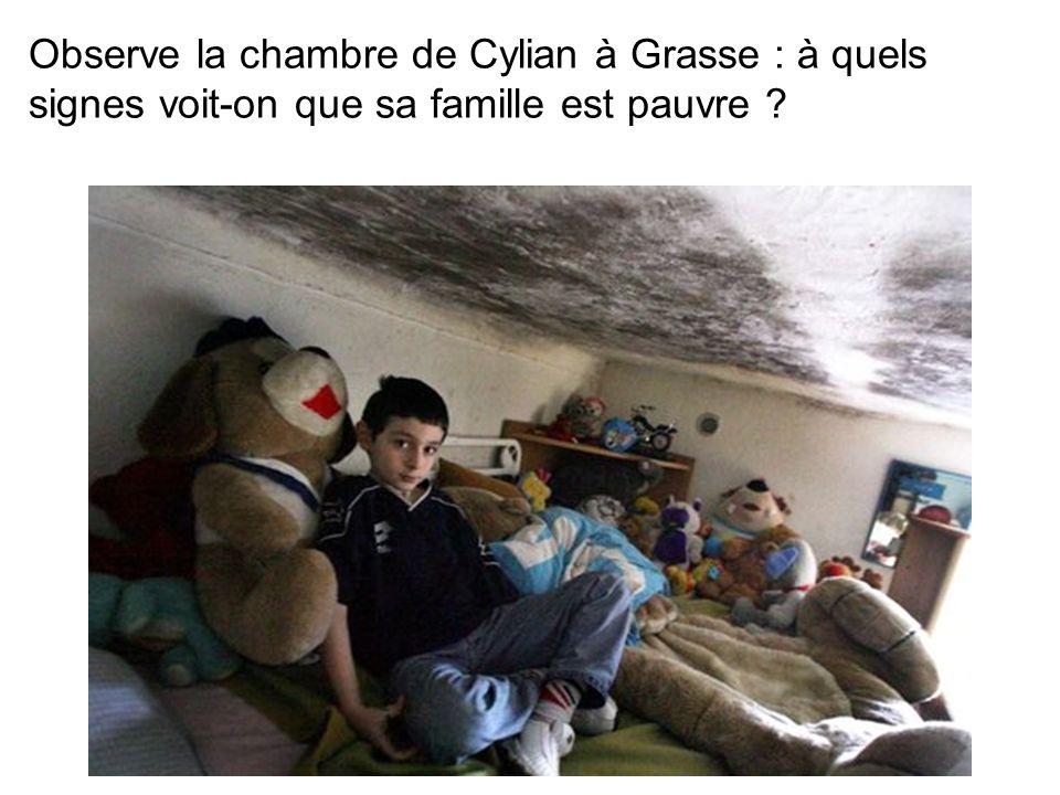 Observe la chambre de Cylian à Grasse : à quels signes voit-on que sa famille est pauvre ?
