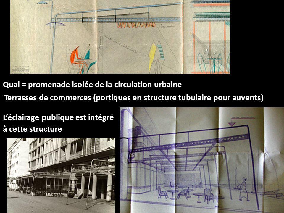 Léclairage publique est intégré à cette structure Quai = promenade isolée de la circulation urbaine Terrasses de commerces (portiques en structure tub