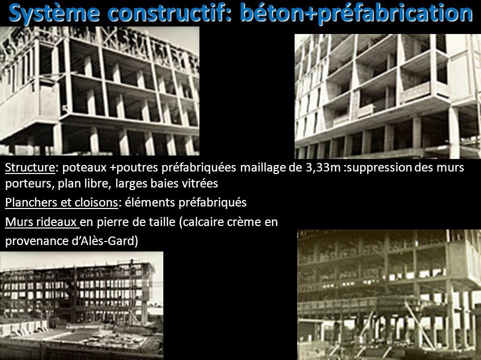 Système constructif: béton+préfabrication Structure: poteaux +poutres préfabriquées maillage de 3,33m :suppression des murs porteurs, plan libre, larg